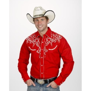 WX-WS-730-RED Men&#39s Embroidered Leaf Red Western Shirt